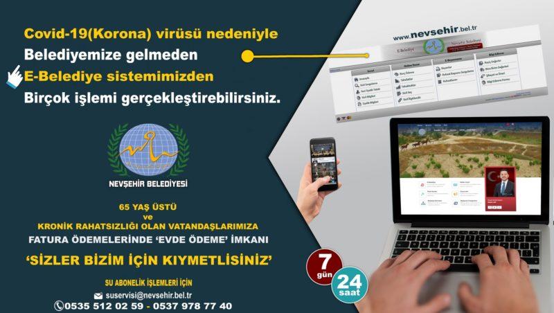 Nevşehir Belediyesi'nden Koronavirüse Karşı Fatura ve Abonelik İşlemlerinde Online ve Mobil Hizmet