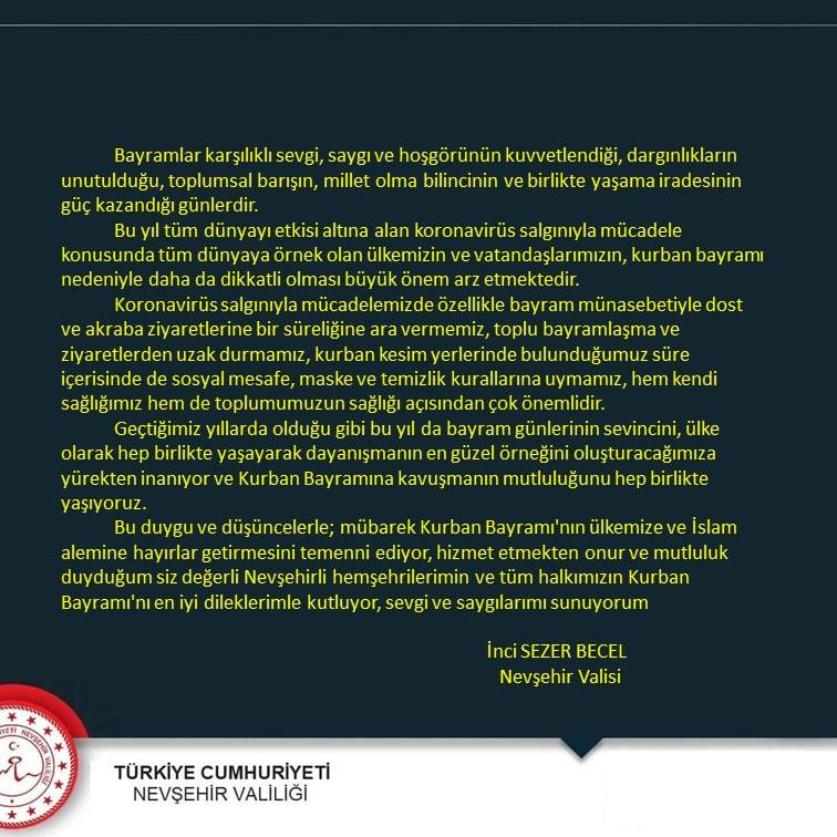 Vali İnci Sezer Becel'den Kurban Bayramı Mesajı